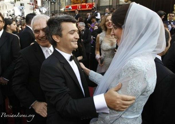 French film producer and actor Thomas Langmann an Oscar winner for The Artist, left, and Iranian actress Leila Hatam