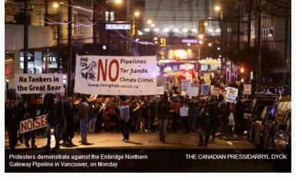 تظاهرات بیش از هزار نفر در اعتراض به پروژه خط لوله «دروازه شمالی» در ونکوور