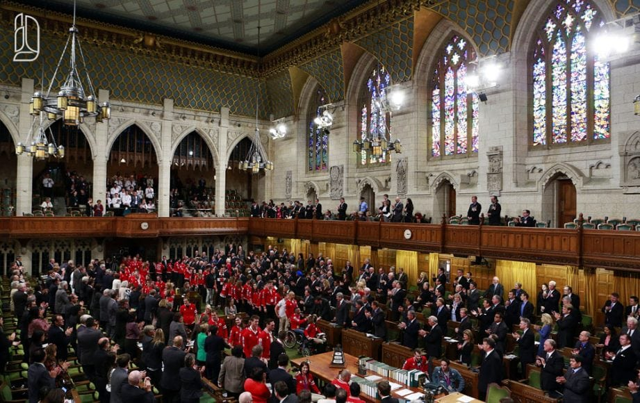 Canadian Olympians and Paralympians are recognized in the House of Commons on Parliament Hill in Ottawa