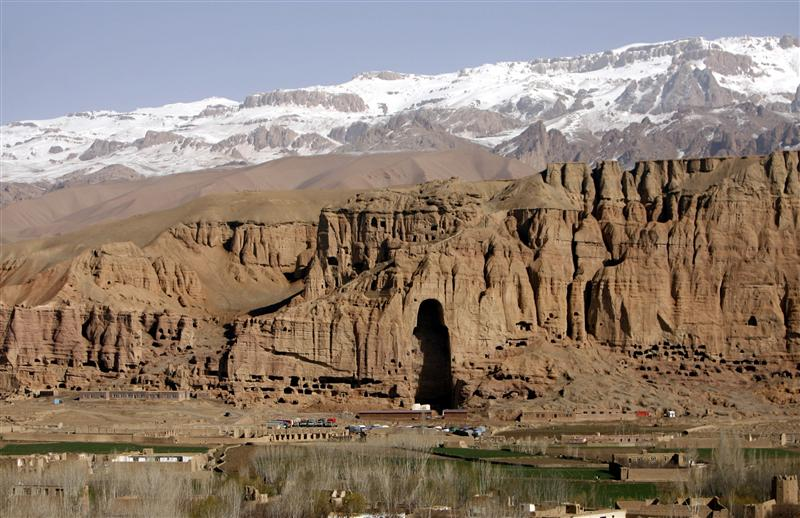 General view of niche that once held a giant Buddha, in Bamiyan province