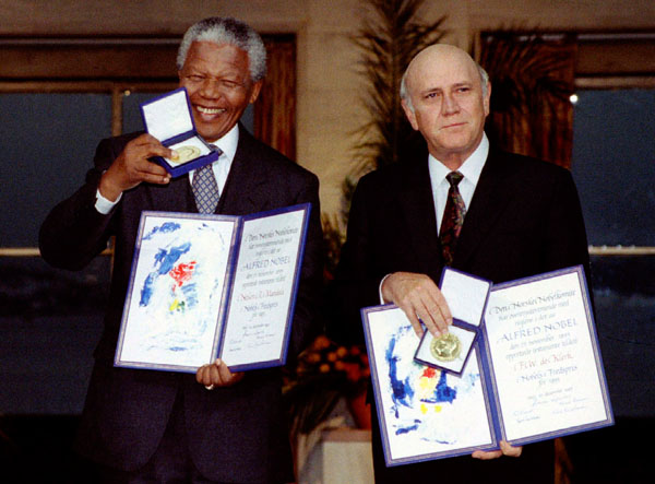 File photo of South African President F.W. de Klerk and African National Congress leader Nelson Mandela at a ceremony in Oslo