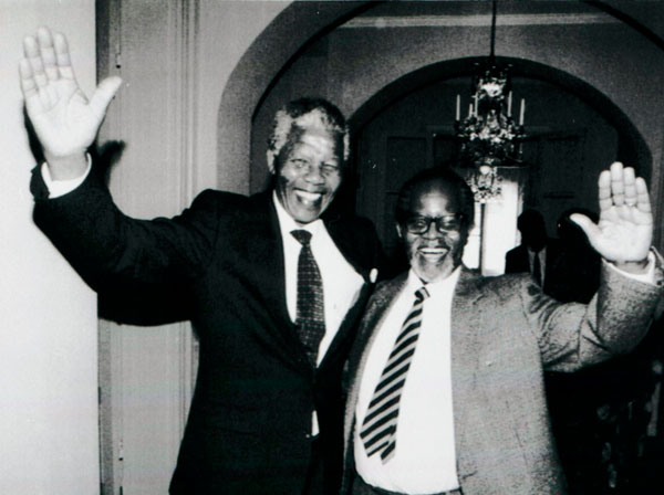 File photo of African National Congress leaders Nelson Mandela and Oliver Tambo meeting for the first time after 28 years in Sweden