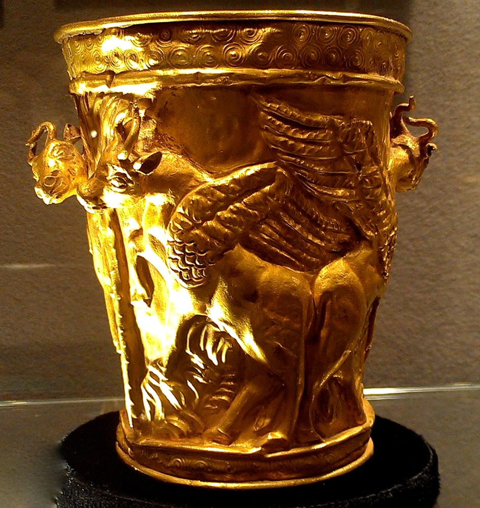 Achaemenid Gold vessel with high-relief figures, c. 1st half of 1st millennium BC, TK Asian Antiquities (NYC) – Naples-Palm Beach Art, Antique and Jewerly Show 2013 – Homa Nasab for MuseumViews
