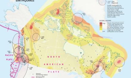 نقشه بزرگترین زلزلههای بریتیش کلمبیا