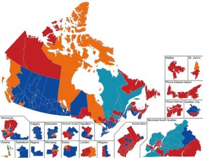 400px-Canada_2019_Preliminary نگاهی به نتایج انتخابات پارلمان سراسری کانادا